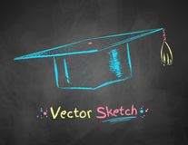 Chalk drawn mortarboard. Color chalk drawn vector illustration of mortarboard on school blackboard background Royalty Free Stock Photos