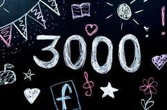 chalk drawn number 3000 royalty free illustration