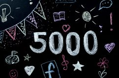 Chalk drawn number 5000 on the board royalty free illustration