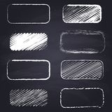 Chalk drawn rectangle with rounded corners on chalkboard background. Set of chalk drawn rectangles with rounded corners. Geometric figures on chalkboard vector illustration