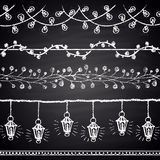 Chalk drawn set of Christmas brushes. Lights, garlands. Happy New 2017 Year theme. Border collection. Royalty Free Stock Image