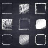 Chalk drawn square on chalkboard background. Set of chalk drawn square. Geometric figures on chalkboard background. Free hand drawn illustration. Imitation of royalty free illustration