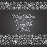 Chalk drawn vector snow flakes seamless borders with greetings. Snowflakes seamless border. Chalk drawn on black board winter borders of different width made of Stock Photography