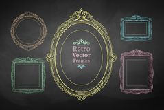 Chalk drawn vintage frames Royalty Free Stock Photos