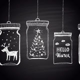 Chalk drawn white horizontal border with Christmas tree, clouds, text, snow and  deer in a jar. Happy New Year Theme. Stock Photo