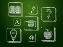 Chalk education signs over green blackboard Stock Photography