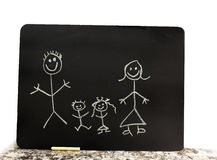 Chalk family. A cute stick drawing of a chalk family Royalty Free Stock Image