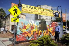 Chalk festival welcome sign Stock Photo