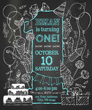 Chalk first Birthday invitation on blackboard. Stock Photography