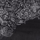 Chalk floral corner on chalkboard blackboard. Ornamental round l Stock Image