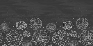 Chalk flowers blackboard horizontal border Royalty Free Stock Images