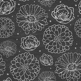 Chalk flowers blackboard seamless pattern Royalty Free Stock Photo