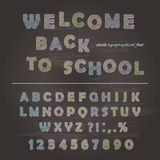 Chalk font design on the chalkboard background. ABC letters and numbers. Welcome back to school. Vector royalty free illustration