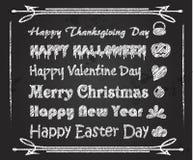 Chalk Font holiday greeting on blackboard Stock Photography