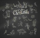 Vector woodland Christmas set. Royalty Free Stock Photography