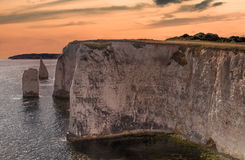 Chalk formation Old Harry Rocks in sunset in South England, Dors Stock Images