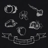 Chalk fruit and vegetables icon. Chalk food fruit and vegetables icon on chalkboard background Royalty Free Stock Photos
