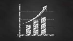 Chalk graph chart diagram, video animation. Business blackboard stock footage