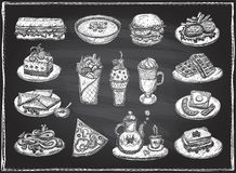 Chalk graphic illustration of assorted food, desserts and drinks, hand drawn vector symbols set Stock Photo
