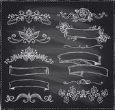Chalk graphic line elements, love and wedding theme, vintage style ribbons Stock Image
