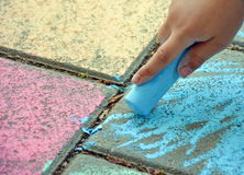 Chalk in hand of child Royalty Free Stock Photo