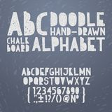 Chalk hand draw doodle abc, alphabet grunge. Scratch type font vector illustration Stock Image