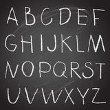 Chalk hand drawing alphabet on a blackboard Royalty Free Stock Photography