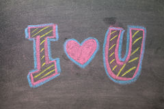 Chalk hand drawing alphabet,. I LOVE YOU  on chalkboard background Stock Image