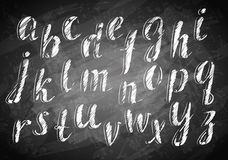 Chalk hand drawing alphabet. Vector Chalk hand drawing alphabet on board Stock Images