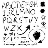 Chalk hand drawing alphabet Royalty Free Stock Images