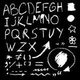 Chalk hand drawing alphabet. Vector illustration Stock Image
