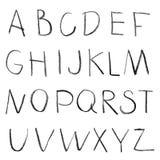 Chalk hand drawing alphabet Royalty Free Stock Image