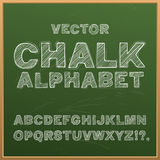 Chalk hand drawing alphabet, vector illustration. Alphabet letters drawn with chalk on a school board. Vector illustration Stock Images