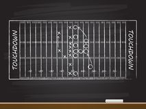 Chalk hand drawing with american football field. Vector illustration stock illustration