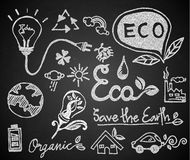 Chalk hand drawing ecology on blackboard Stock Image