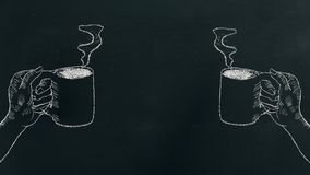 Chalk hand drawing a hand holding coffee cup with steam on black board on the left and right side of the frame royalty free stock photography