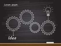 Chalk hand drawing with light bulb and gears. Vector illustration stock illustration