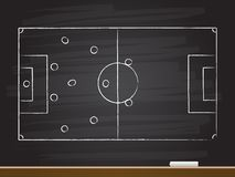 Chalk hand drawing with soccer game strategy. Vector illustration royalty free illustration