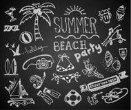 Chalk hand drawing summer on blackboard Royalty Free Stock Image