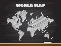 Chalk hand drawing with world map. Vector illustration. Abstract blackboard drawn white sketch cartoon word text background business concept icon symbol slate stock photography