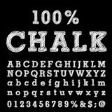 100 chalk. Hand drawn font with chalk on blackboard Stock Images