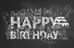 Chalk Happy Birthday blackboard background. Stock Photos