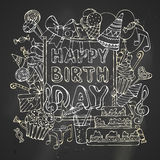 Chalk Happy Birthday card. Royalty Free Stock Photo