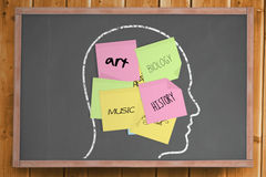 Chalk head with school subjects post it notes Stock Image