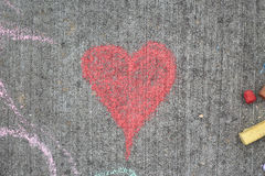 Chalk heart horizontal Royalty Free Stock Images