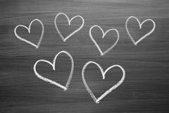 Chalk heart shapes Stock Photos