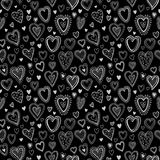 Chalk hearts  sketch seamless texture. Vector Stock Image