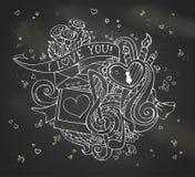 Chalk I Love You doodles illustration on blackboard background. Stock Image