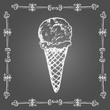 Chalk ice cream cone and vintage frame. Royalty Free Stock Image