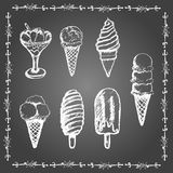 Chalk ice cream set. Stock Photos
